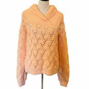 Pullover Sweater Womens Peach Long Sleeve Shawl M